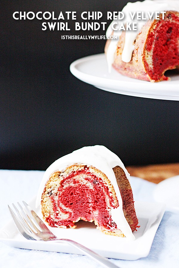 Chocolate Chip Red Velvet Swirl Bundt Cake -- Chocolate chip red velvet swirl bundt cake combined two flavors of cake mix with mini chocolate chips for a delicious Valentine's Day dessert! | halfscratched.com #cake #recipe #dessert #redvelvet