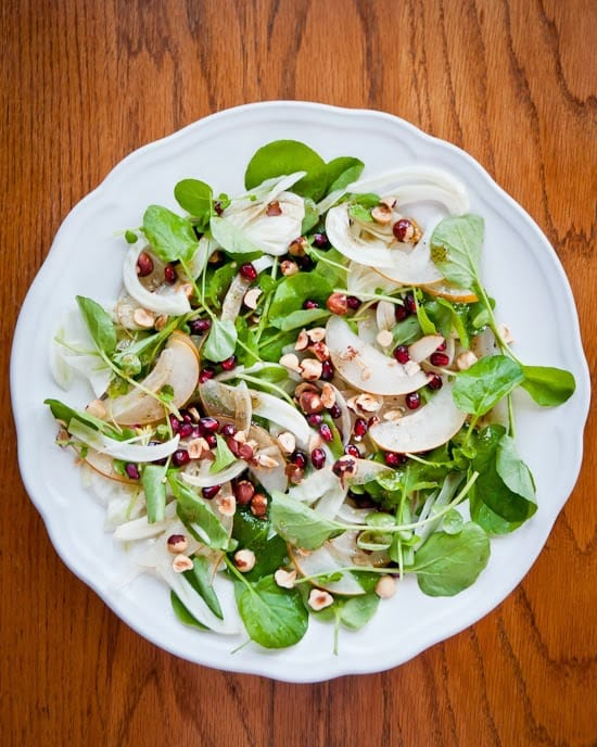 thanksgiving shaved fennel and asian pear salad with pomegranate and watercress