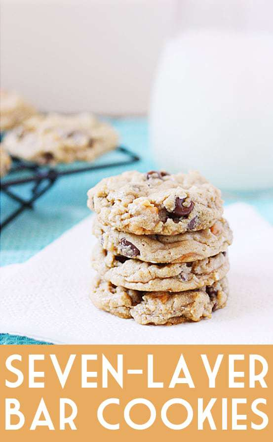 Seven-Layer Bar Cookies -- These seven layer bar cookies take your favorite Hello Dolly bars and turn them into a soft, chewy cookie. Yum! #cookies #sevenlayer #sevenlayerbars #cookierecipe #dessert #sweet #halfscratched #baking