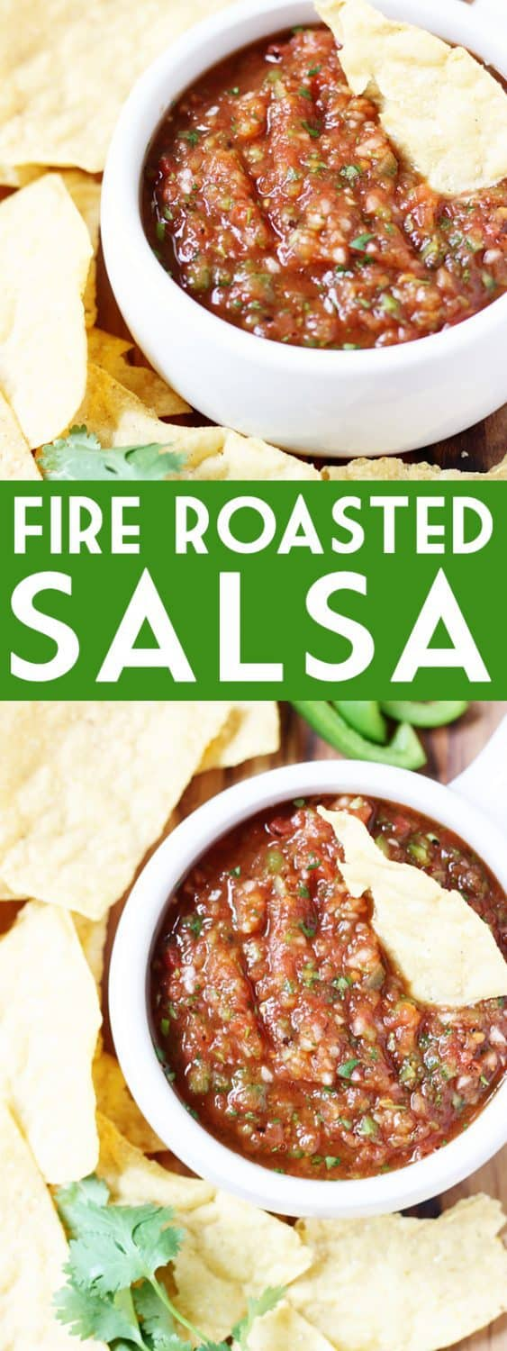 Fire Roasted Salsa Recipe - This fire roasted salsa is one of my all-time favorite homemade salsa recipes and reminiscent of your favorite restaurant salsa! | halfscratched.com