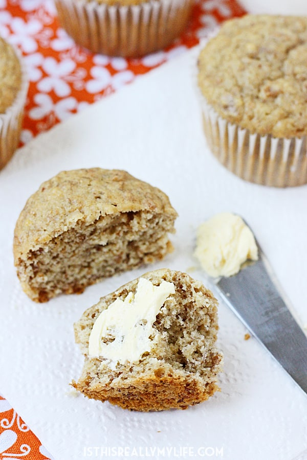 Healthy Honey and Spice Banana Muffins -- These honey and spice banana muffins are not only delicious but also healthy thanks to ingredients like applesauce, bran flakes, skim milk and honey. | halfscratched.com