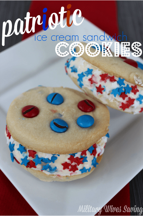 Patriotic Red White and Blue Ice Cream Sandwiches Recipe