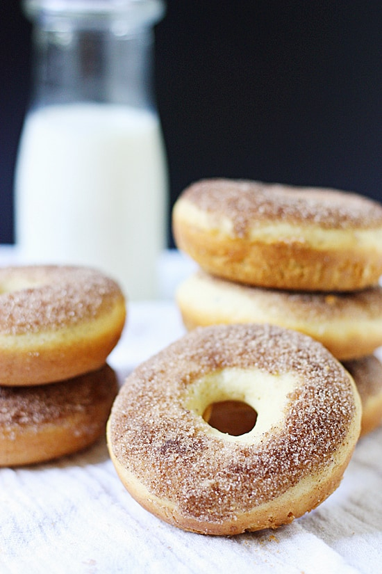 Baked Cinnamon Sugar Donuts -- Baked cinnamon sugar donuts are one of my favorite baked donut recipes (so far). They're irresistible still warm so you may want to double the recipe!