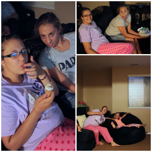 Family movie night outtakes collage