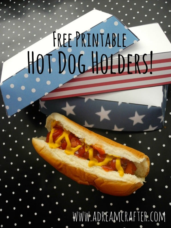 4th of july printable hot dog holders
