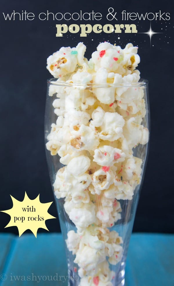 white chocolate and fireworks popcorn