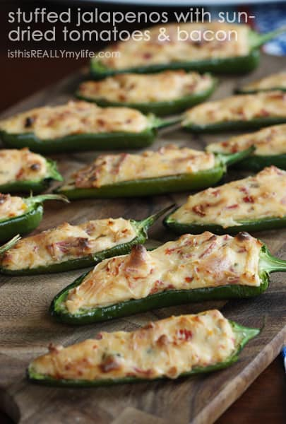Stuffed jalapenos with cream cheese bacon sun dried tomatoes