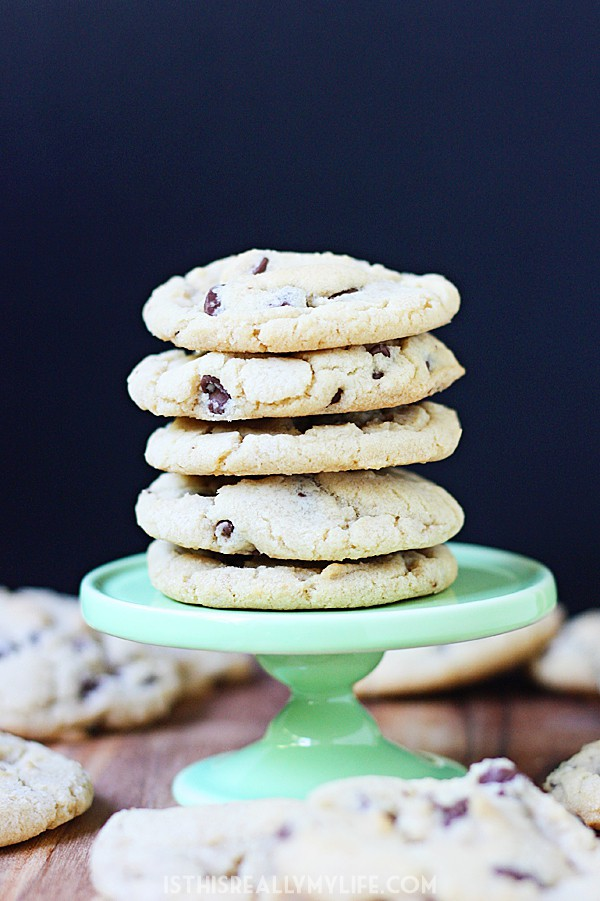 The Chewiest Chocolate Chip Cookies -- These chewy chocolate chip cookies are seriously the best thanks to slightly crispy edges and the chewiest center ever. Best eaten hot from the oven (like all cookies, duh).   halfscratched.com #cookies #recipe