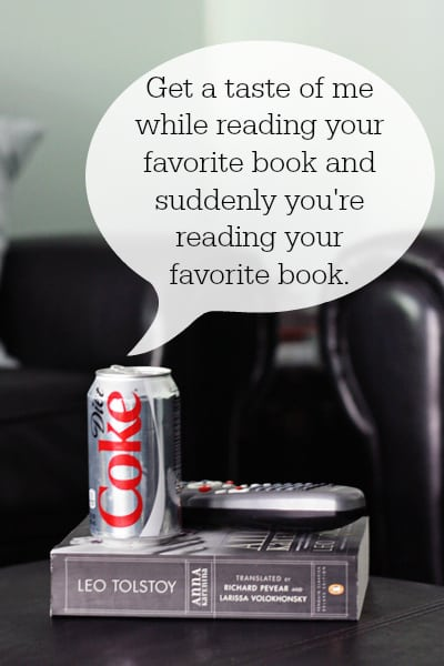 Diet Coke with a book