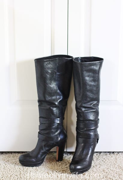 BCBG black leather boots