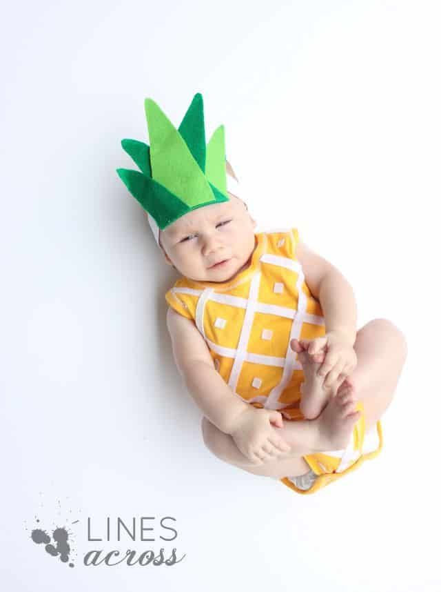 DIY pineapple no sew baby costume
