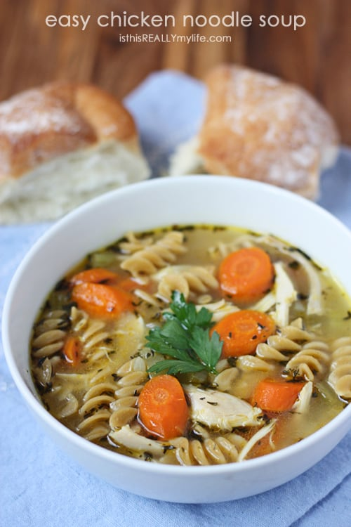 Easy chicken noodle soup yet so full of flavor. Rotisserie chicken gives it a delicious roast chicken flavor.