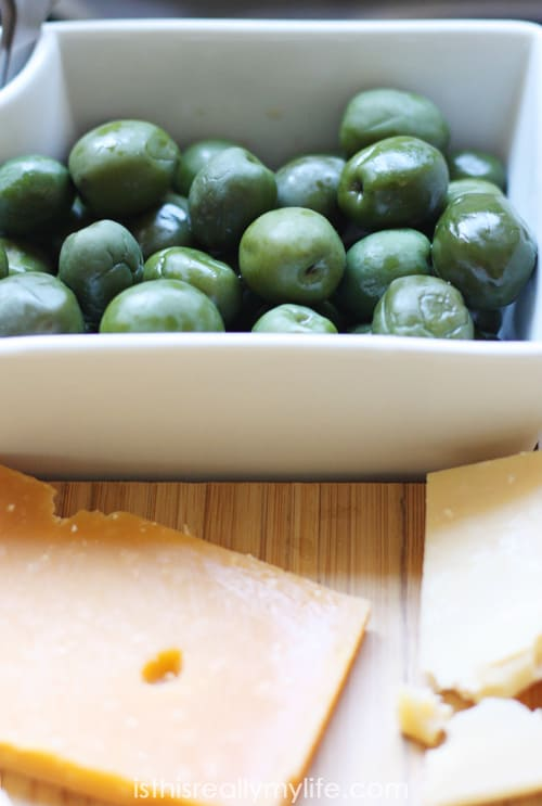 Holiday cheese platter -- Castelvetrano olives