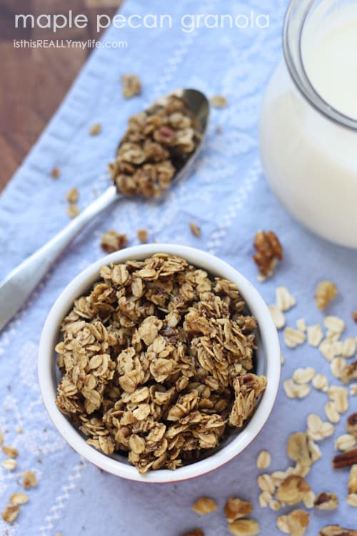 Maple Pecan Granola with pure Canadian maple syrup #FitMaple