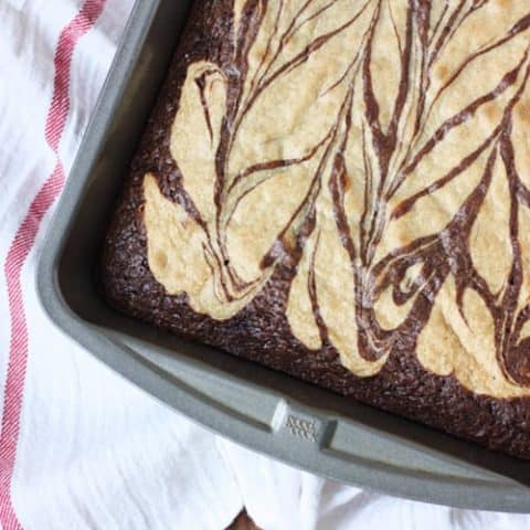 Peanut butter brownies - my favorite brownie recipe! A swirl of creamy peanut butter flavor in every bite.
