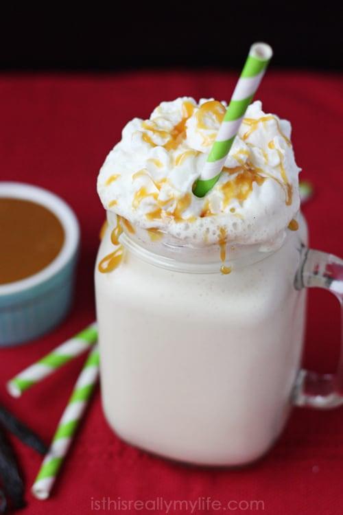 Salted caramel eggnog milkshake