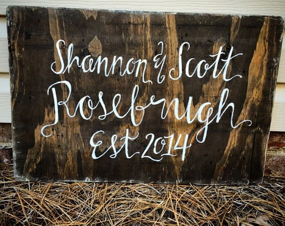 Signed Yours Truly reclaimed wood signs