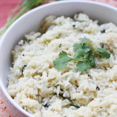 Sweet cilantro rice - the perfect side dish for any Mexican meal! #rice #cilantro #mexican #recipe