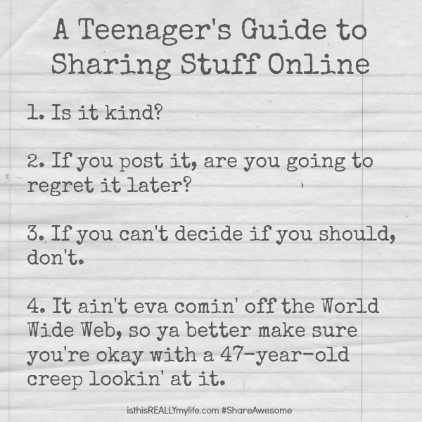 Teenager's Guide to Sharing Stuff Online #ShareAwesome #socialmedia #onlinesafety