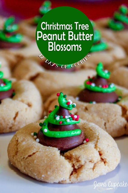 Christmas Tree peanut butter blossom cookies