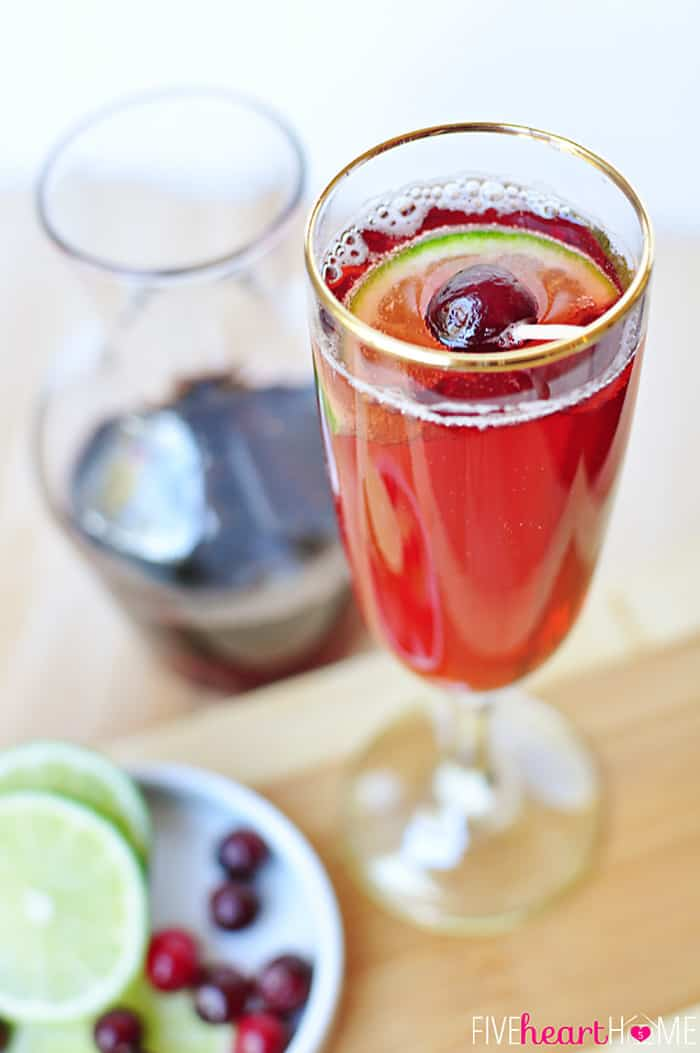 cranberry pomegranate bellinis new years eve mocktails