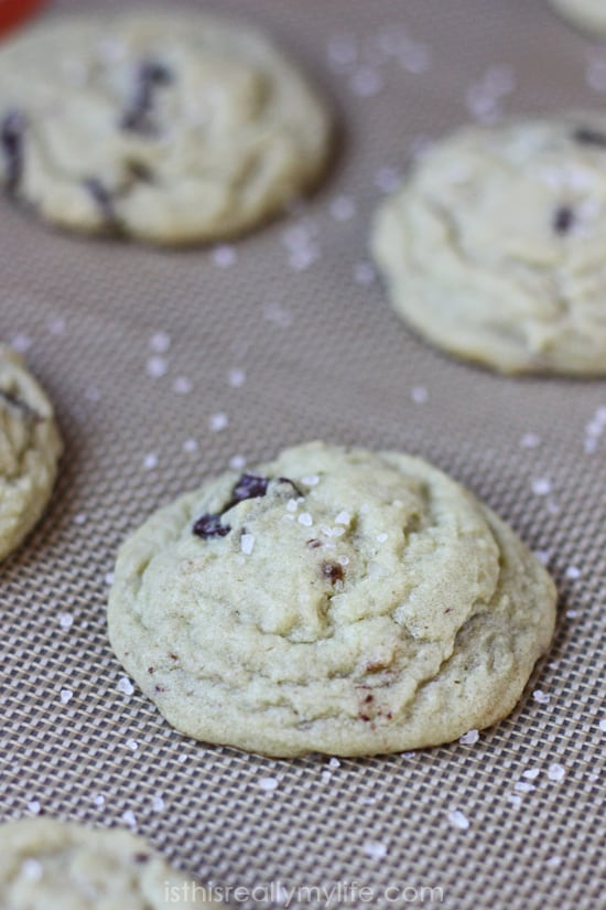Salted Dark Chocolate Pistachio Puddnig Cookies -- the combination of salt, dark chocolate and hint of pistachio flavor makes these pudding cookies irresistible!