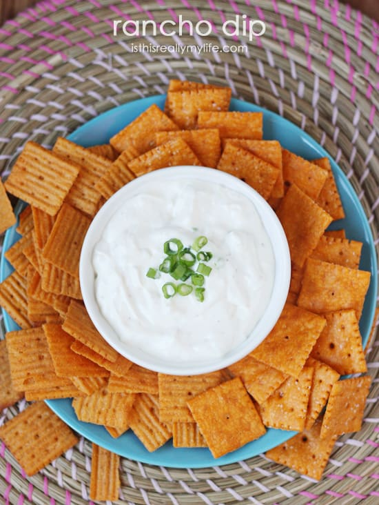 Rancho Dip -- a great party dip. Super creamy with a bit of blue cheese and some garlic. Pairs perfectly with your favorite crunchy crackers or chips.