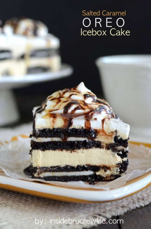 Salted caramel Oreo icebox cake