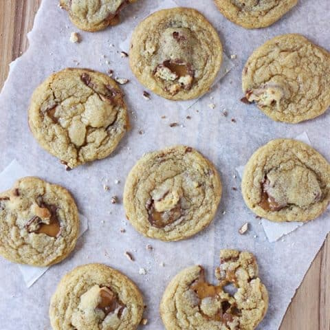 Twix Pudding Cookies -- my favorite pudding cookie recipe with chunks of Twix candy bar.