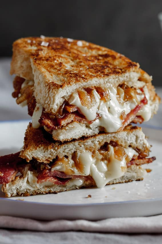 Crispy bacon and Brie grilled cheese with caramelized onions from Simply Delicious