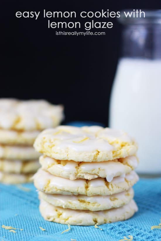 Easy Lemon Cookies with Lemon Glaze -- these cookies use lemon cake mix and lemon pudding and not much else to make a super delicious dessert!