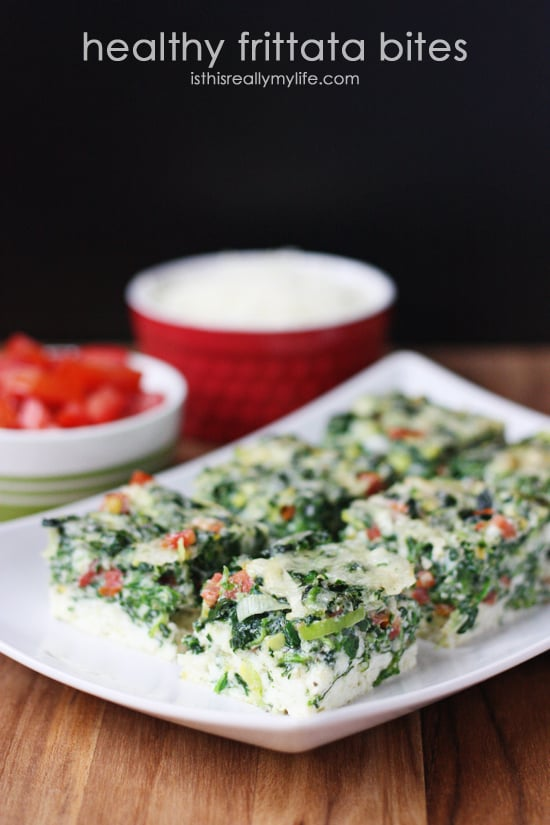 Healthy Frittata Bites -- egg whites, spinach, Italian cheeses and tomatoes make for a delicious breakfast dish!