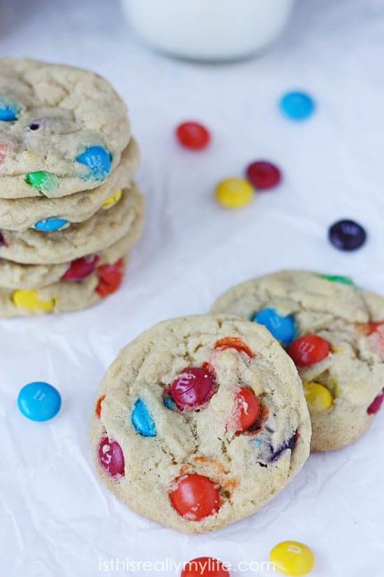M&Ms Pudding Cookies -- the softest, chewiest cookies packed with M&Ms in every bite!