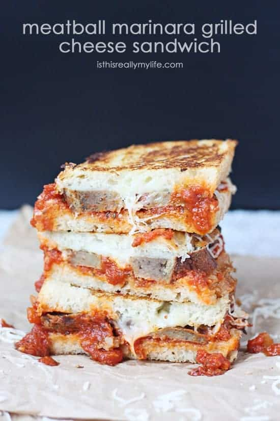 Meatball Marinara Grilled Cheese Sandwich -- a melty, cheesy combination of marinara, Italian meatballs and Italian cheeses on sourdough bread. So yummy!