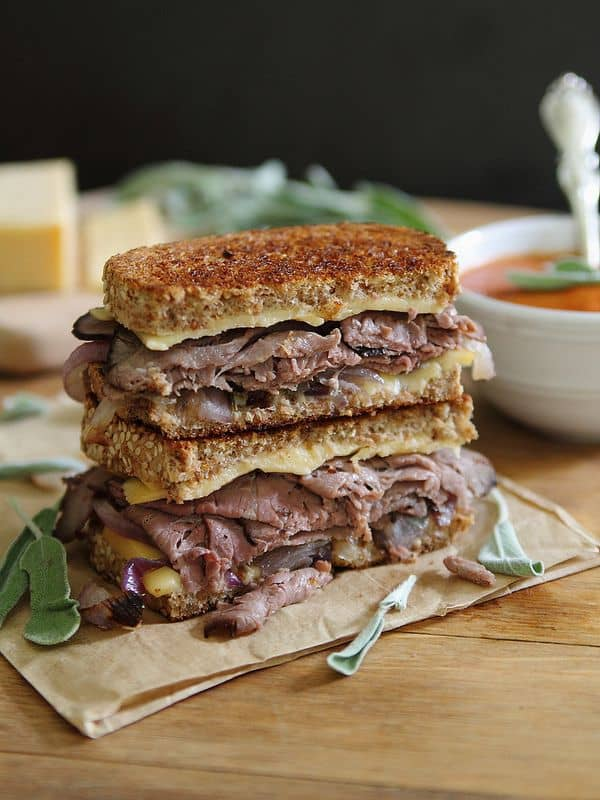 Roast beef smoked gouda grilled cheese from Running to the Kitchen