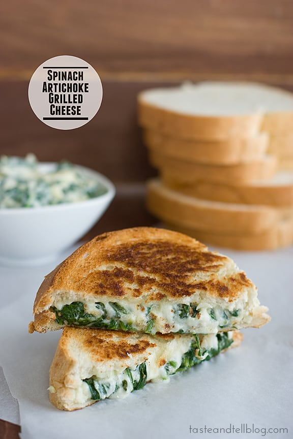 Spinach artichoke grilled cheese from Taste and Tell