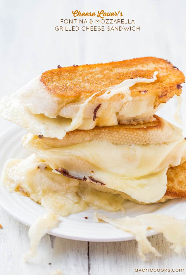 Fontina and mozzarella grilled cheese sandwich from Averie Cooks