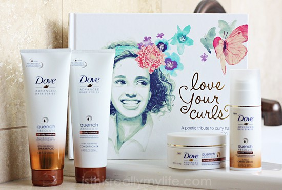 Dove Hair Love Your Curls book and Dove Quench Absolute Hair Care