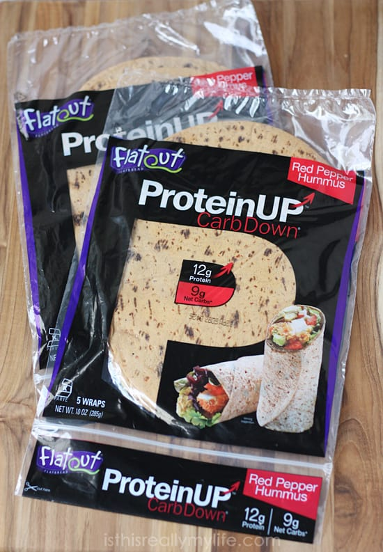 Flatout ProteinUP flatbread Red Pepper Hummus -- low carb, high protein alternative to regular flatbread. Comes in three flavors!