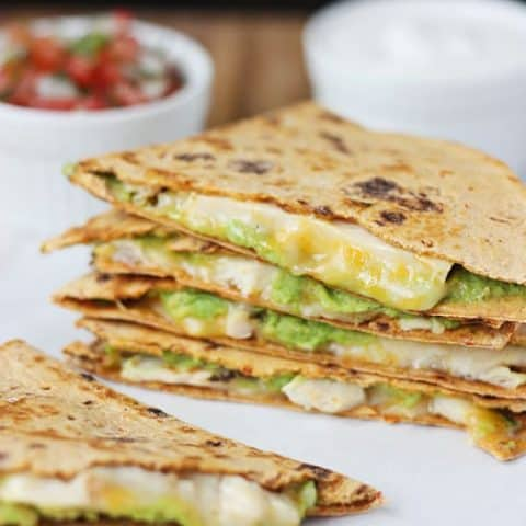 Low-Carb Grilled Chicken Pepper Jack and Avocado Quesadillas. These quesadillas feature Flatout ProteinUP red pepper & hummus low-carb wraps for a healthier quesadilla.