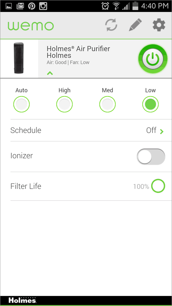 WeMo App with Holmes Smart Air Purifier