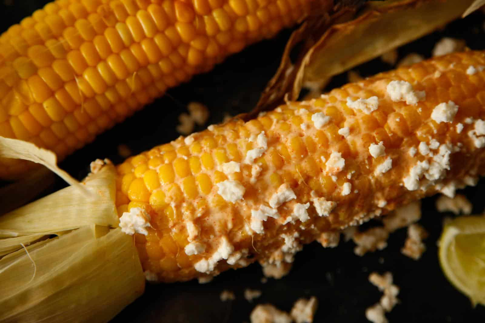 Grilled corn with cayenne, lime and cotija