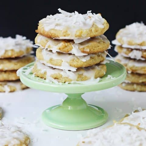 Glazed Lemon Pudding Cookies - the perfect combination of lemon and coconut in a soft, chewy cookie.