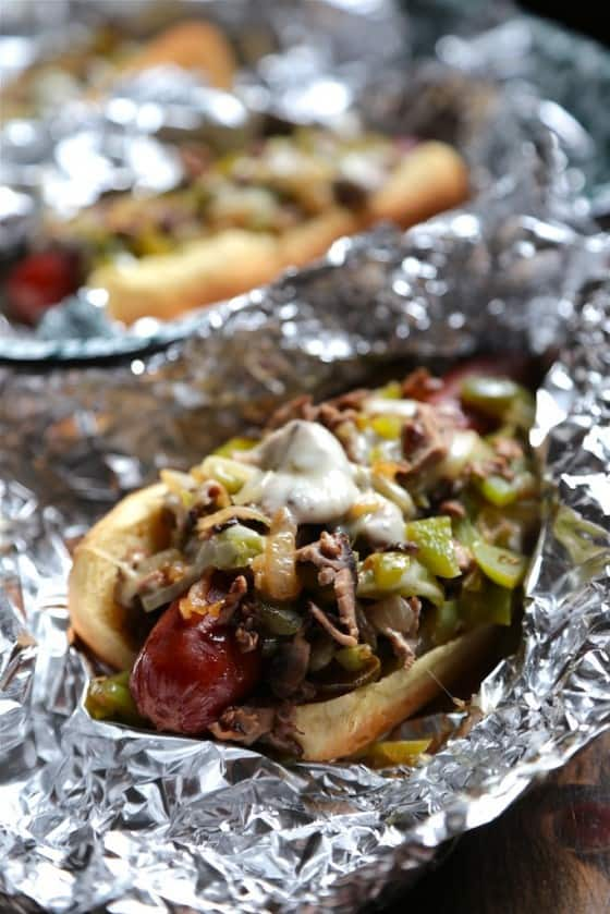 Philly cheesesteak hot dogs tin foil dinner