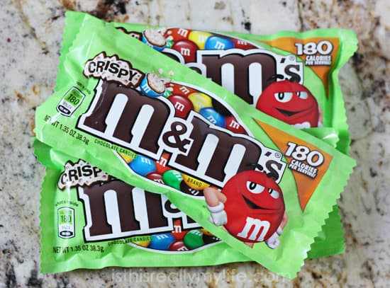 M&Ms Crispy  - only 180 calories per package for a tasty, satisfying treat!