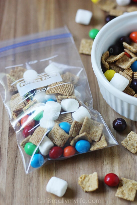 M&Ms Crispy Smores Mix  - only 150 calories per serving. Great snack for those high school lunches!