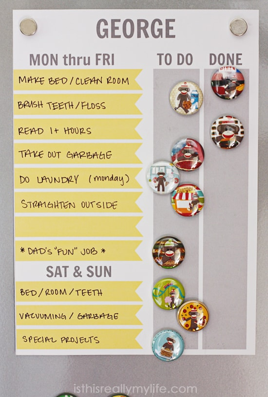 Free printable magnet chore chart