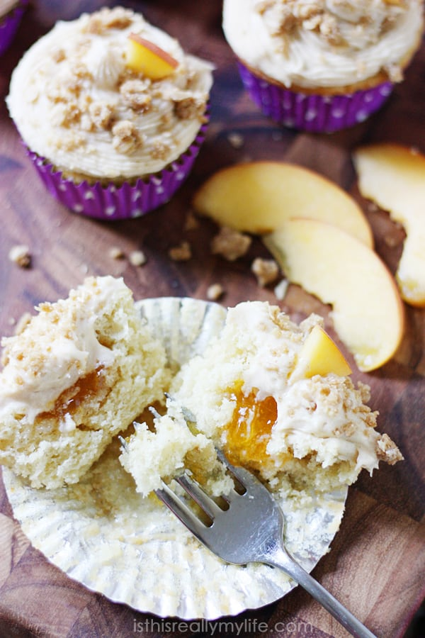 Peach cobbler cupcakes - a hint of peach flavor in the cupcakes and peach preserves in the center.