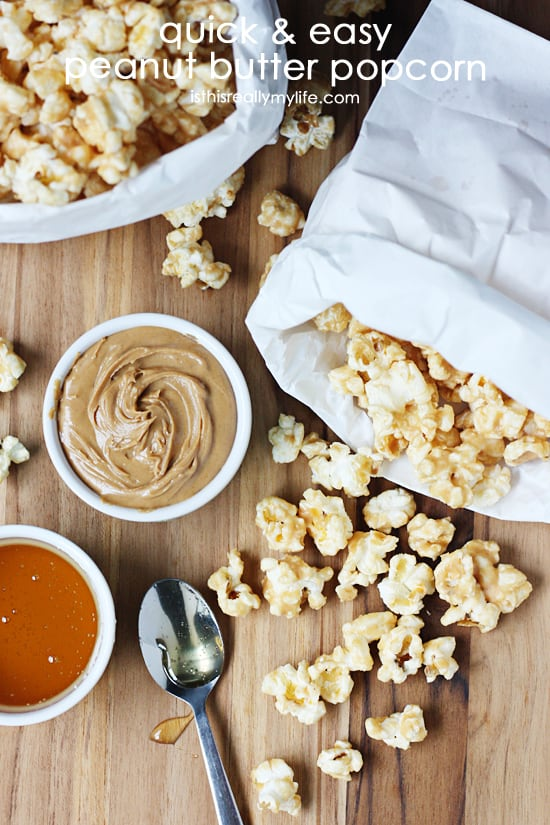 Quick and Easy Peanut Butter Popcorn - use microwave popcorn and a handful of ingredients to make a gourmet treat!