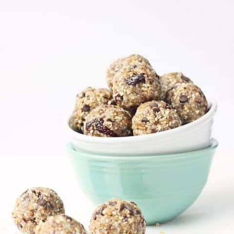 Energy Bites or Protein Bites Two Ways: Cherry or Chocolate Chip